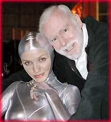 Leonard Goldberg and heavenly angel, Cameron Diaz on the set of Charlie's Angels film. Goldberg says this about Diaz --  She just lights up the screen and when she smiles, the audience smiles back.  Cameron is a movie star in the best sense of the word.  Photo ©2003 Columbia-Tri Star Pictures.