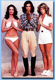 "The original cast, Jaclyn Smith, Kate Jackson and Farrah Fawcett.  This was the first photo shoot the angels did and is seen at the final part of the pilot film as Farrah Fawcett's character Jill Munore says ""Call, if you need us"""