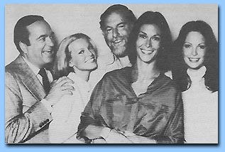 The cast of Charlie's Angels (after Farrah Fawcett left)  L to R: David Doyle, Cheryl Ladd, Leonard Goldberg, Kate Jackson and Jaclyn Smith -- from season 2 & 3 cast.