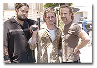 TVGuide.com's Daniel Coleridge on the set of TNT's WANTED with stars, Lee Tergesen and Josey Scott.   Photo: Patrick Ecclesine/TNT